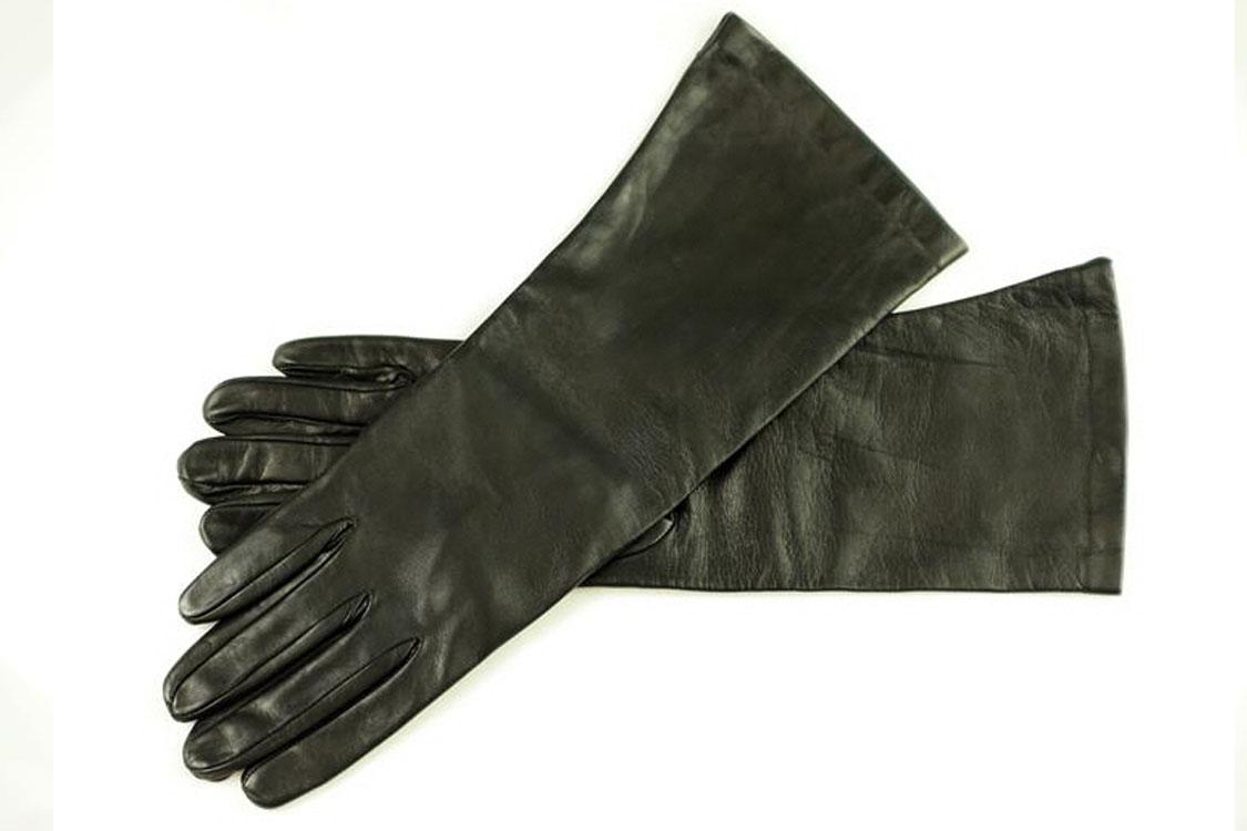 35 cm unterarmlange Damen Lederhandschuhe ungefüttert