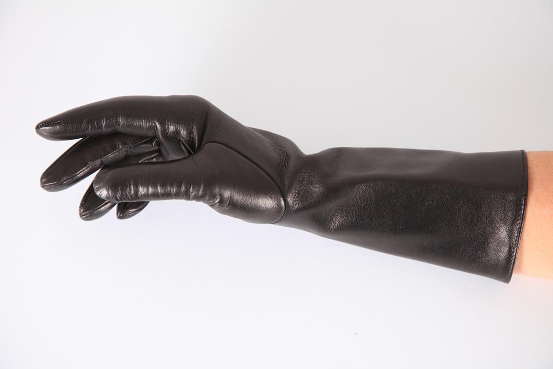 32 cm lange Damen Lederhandschuhe mit Seidenfutter