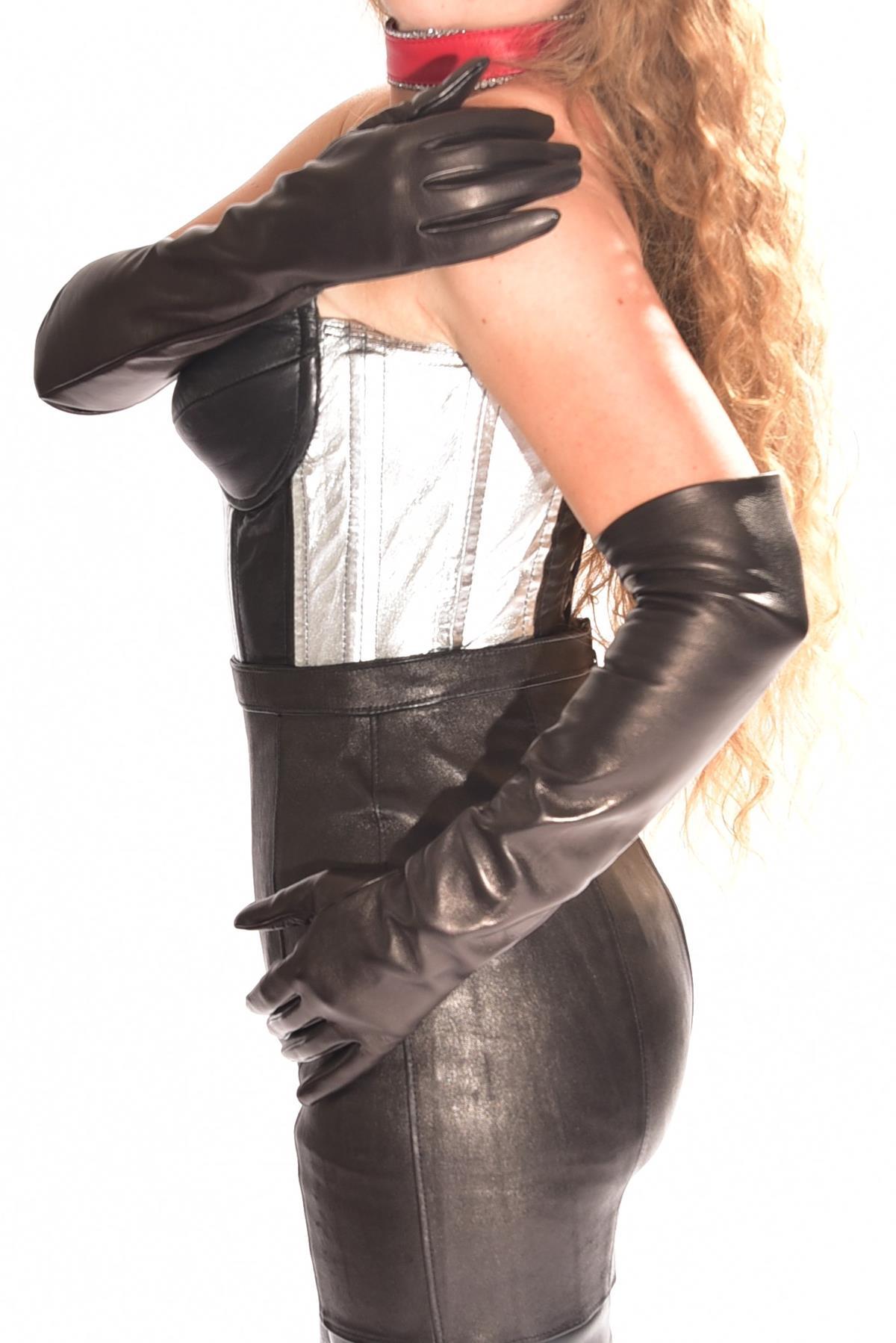 50 cm ellenbogenlange Damen Lederhandschuhe ungefüttert