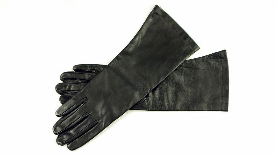 40 cm lange Herren Lederhandschuhe mit Seidenfutter