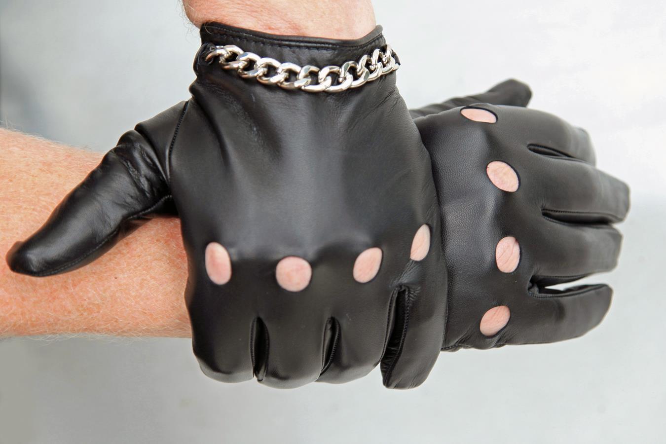 Herren Autofahrer Lederhandschuhe mit Kette