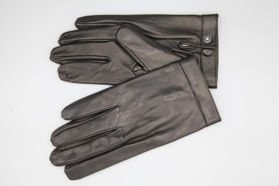 Kurze Herren Lederhandschuhe mit Seidenfutter und Druckknopf