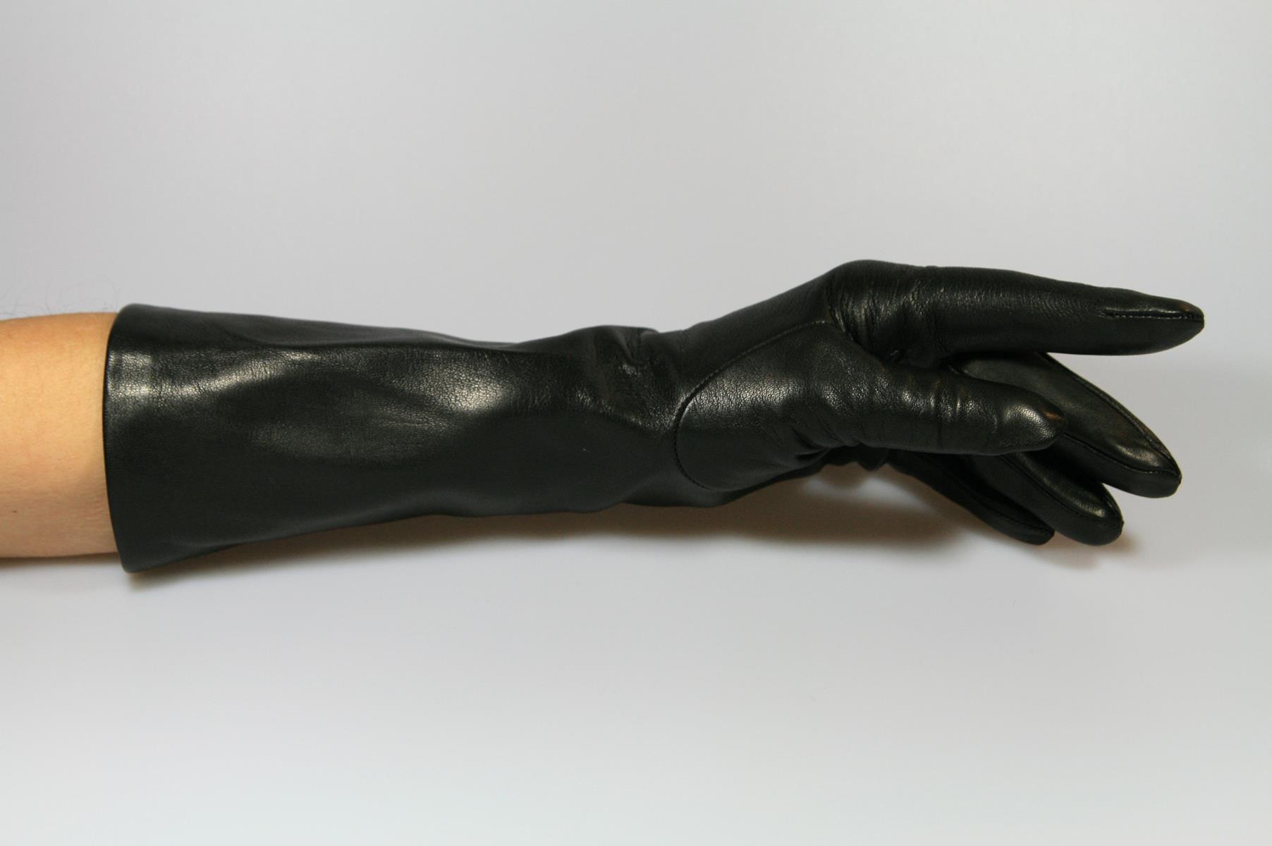 30 cm lange Damen Lederhandschuhe mit Seidenfutter