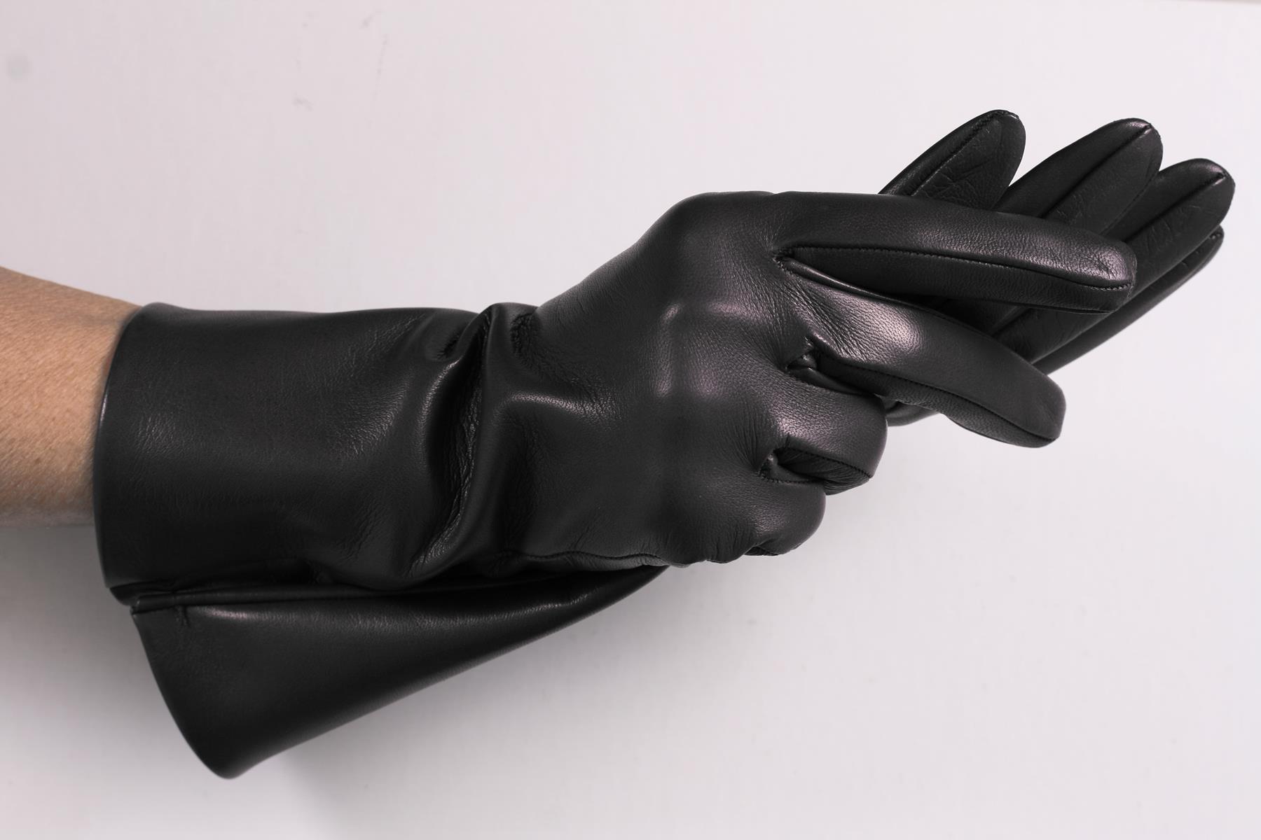 30 cm unterarmlange Damen Lederhandschuhe ungefüttert